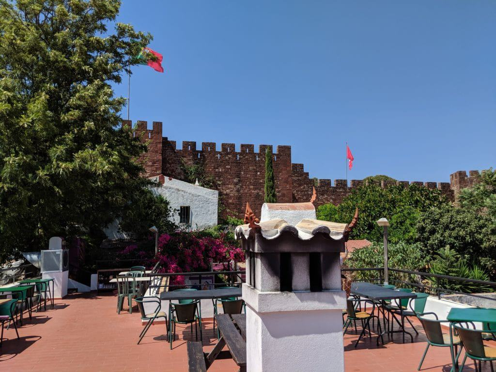 Terrace, chimney, and the castle