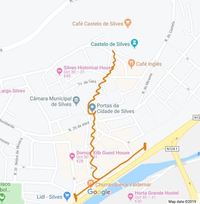 Mapa com o Centro Histórico de Silves.