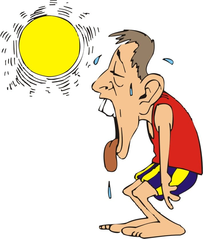 Homem sofrendo de calor.