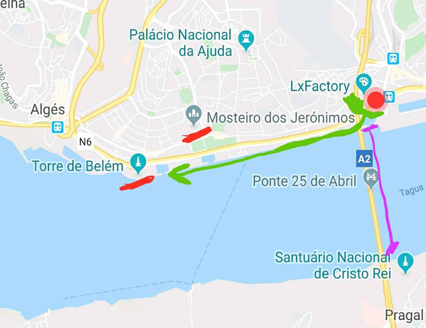 Mapa com a localização das Docas de Lisboa.