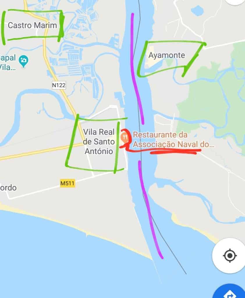 Mapa do destino Algarve-Sevilha.