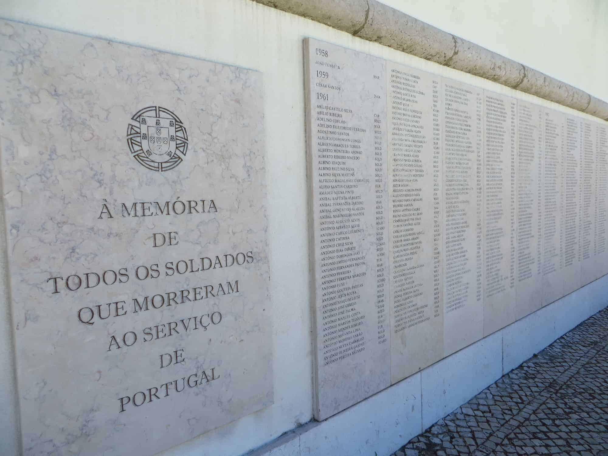 Memorial no Museu dos Combatentes.