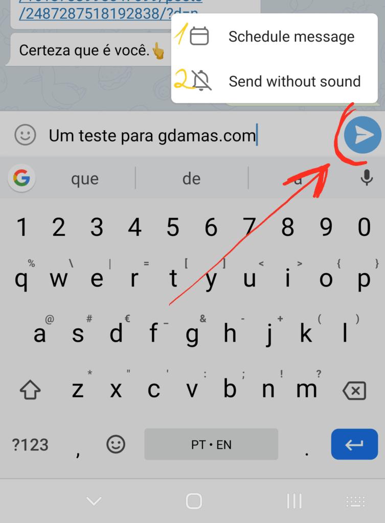 Programar envio de mensagem no Telegram, ou enviar sem som de notificação.