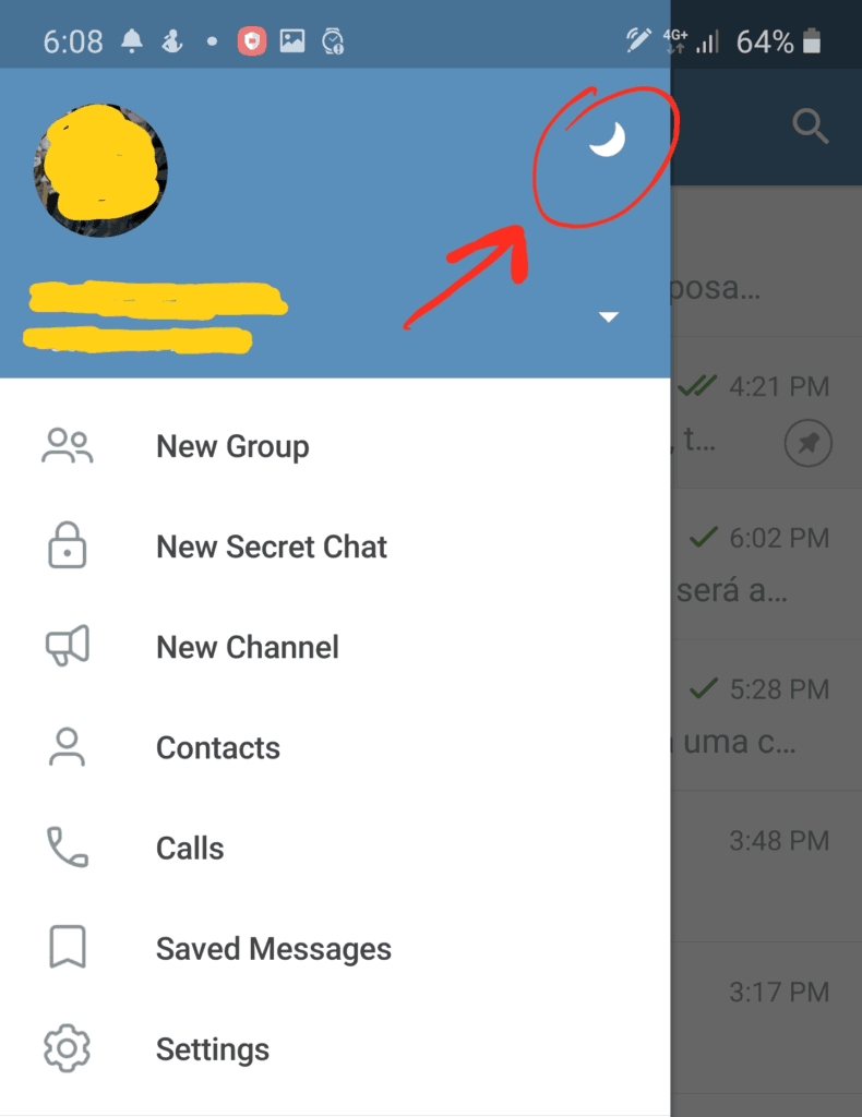 Modo noturno no Telegram.