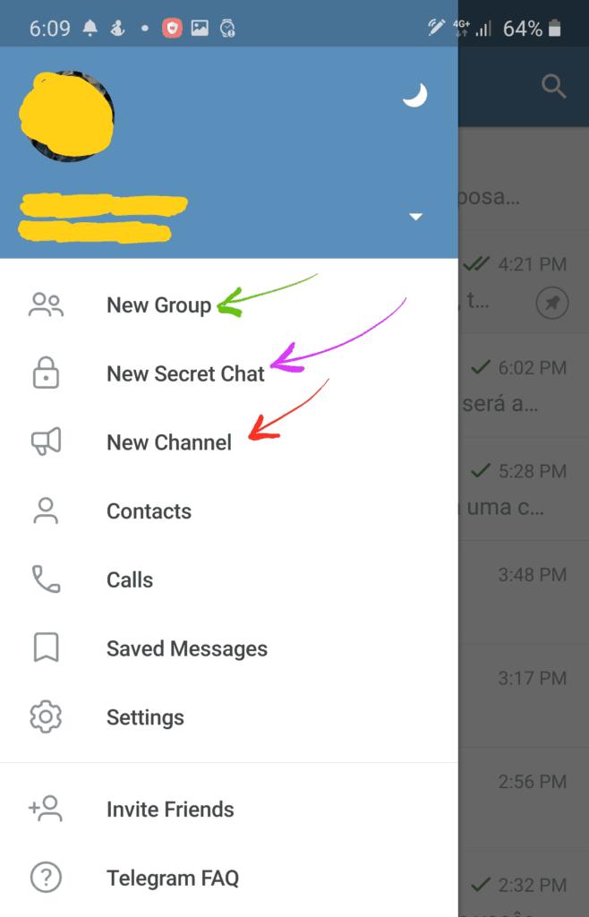 Chat secreto, grupos e canais no Telegram.