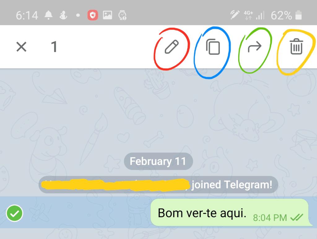 Editar mensagens no Telegram.