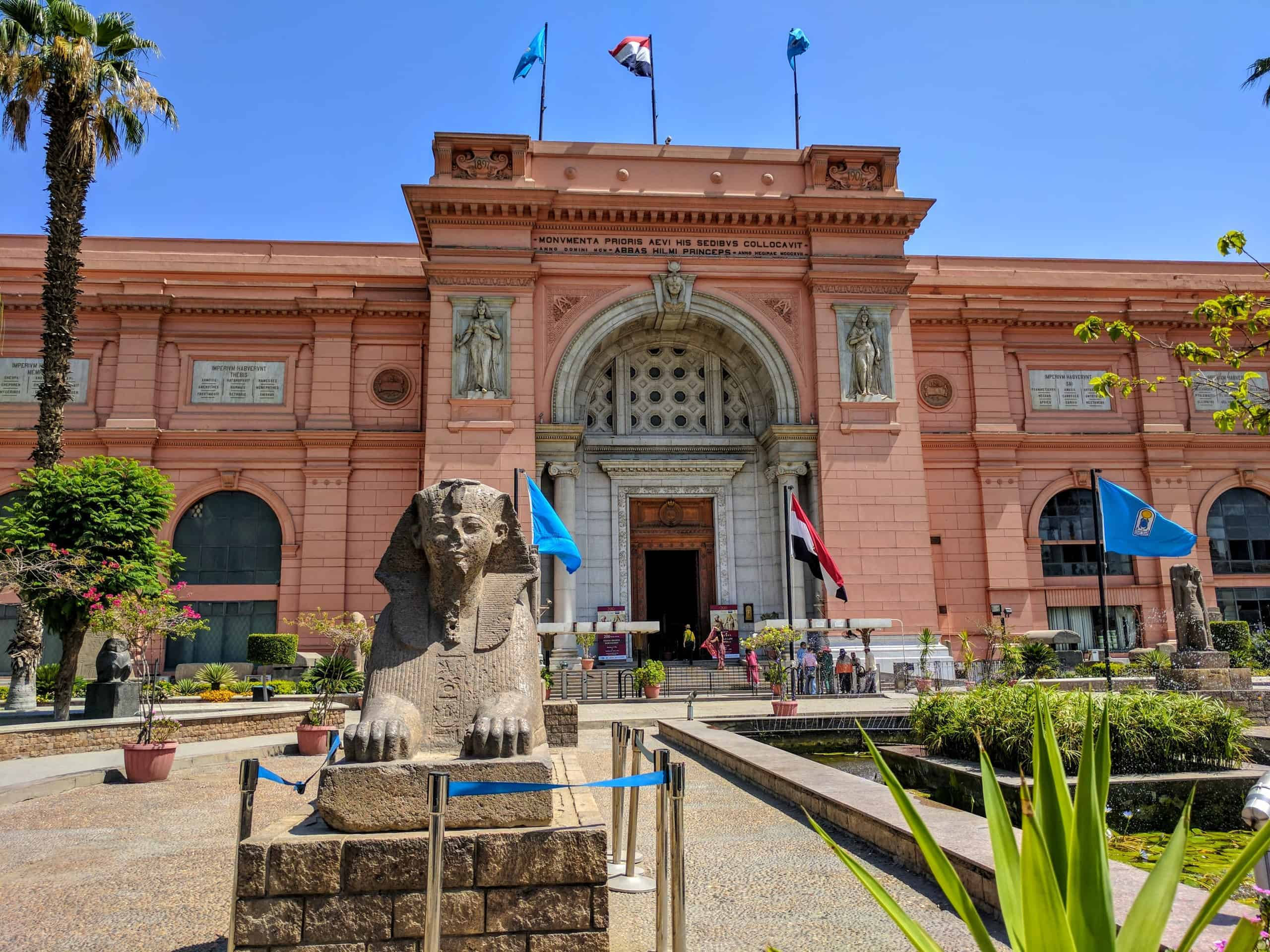 Front of the traditional Cairo Museum, that will be replaced after the inauguration of the Great Egyptian Museum.