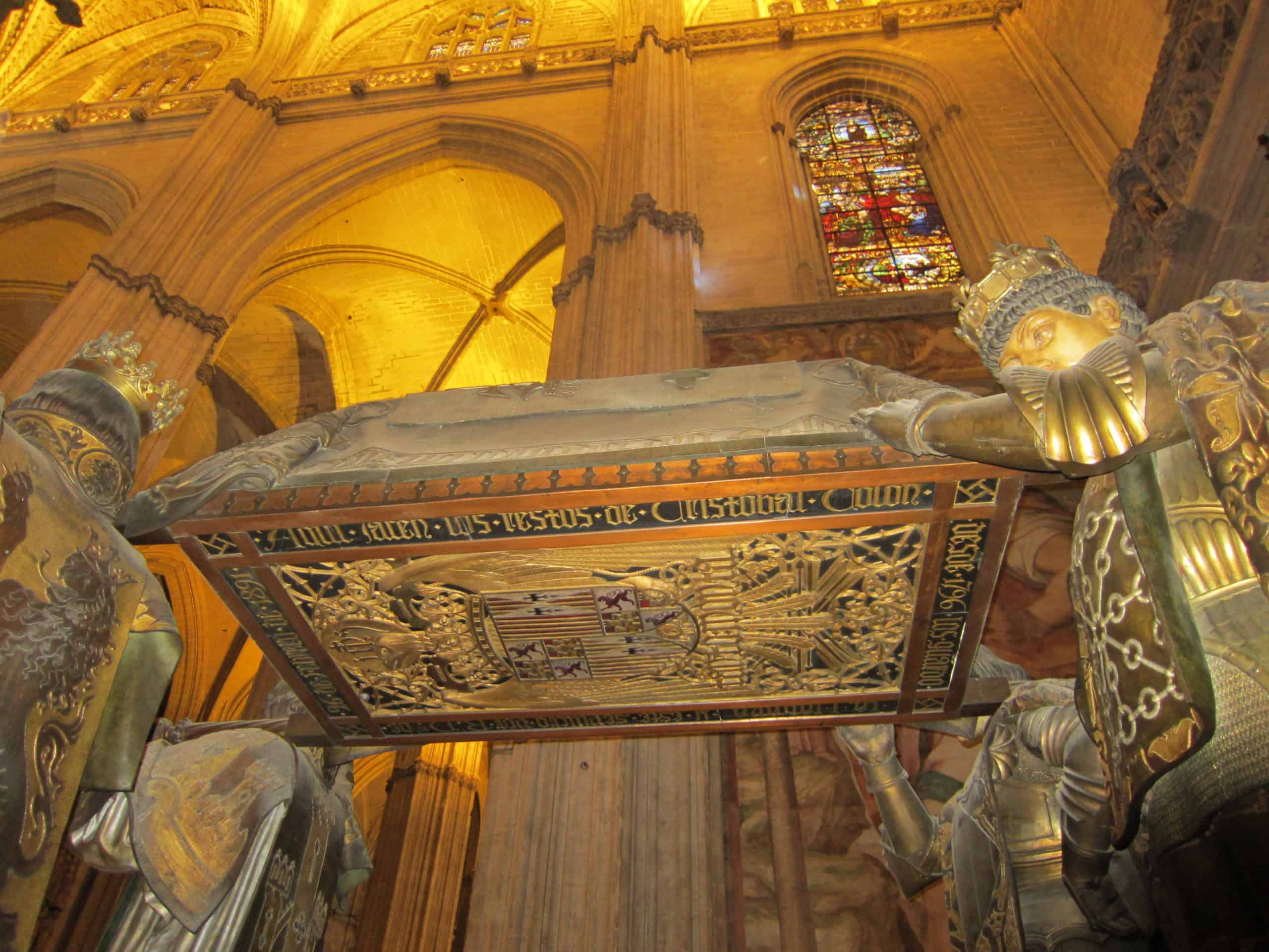 The tomb of Christopher Columbus in Seville Cathedral.
