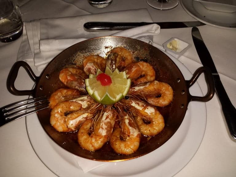 A meal (with shrimps).