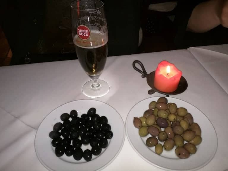 Beer and olives.