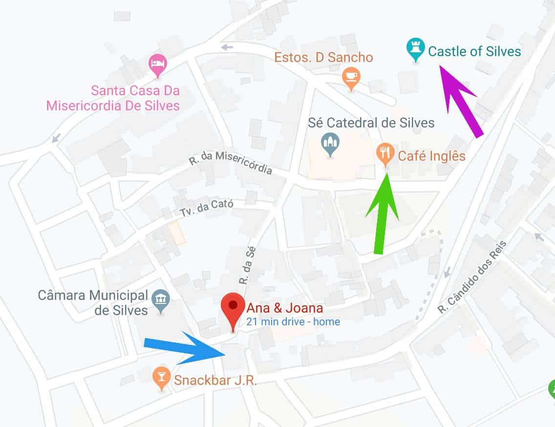 Map with the location of the shop in Silves