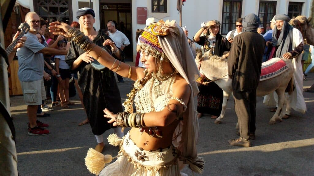 A woman dancing according to arabic traditions