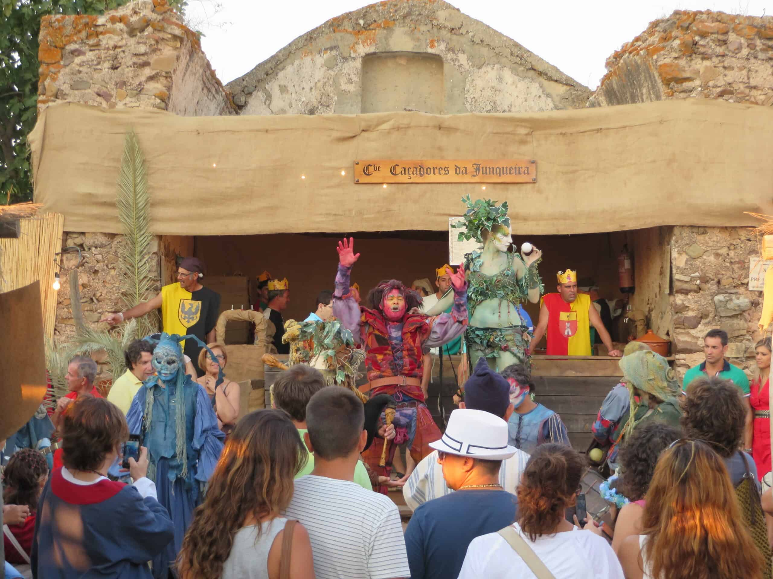Actors play with the visitors