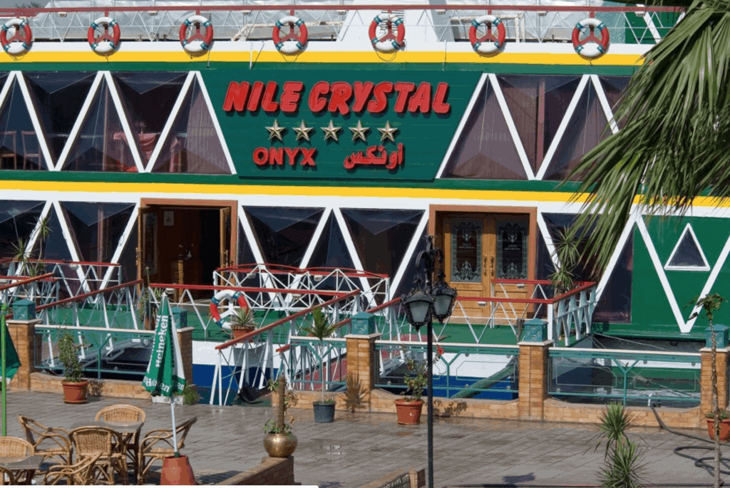 Entrance to a boat dedicated to dinner cruise in Cairo