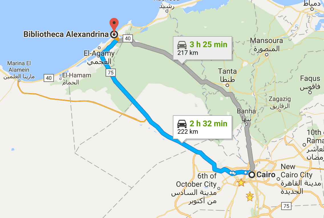 Map, from Cairo to Alexandria